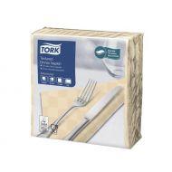 Tork 478786 textured dinnerservet 38x39cm, 2 lg 1/4 vouw, zand, doos a 18x50 stuks (478786)